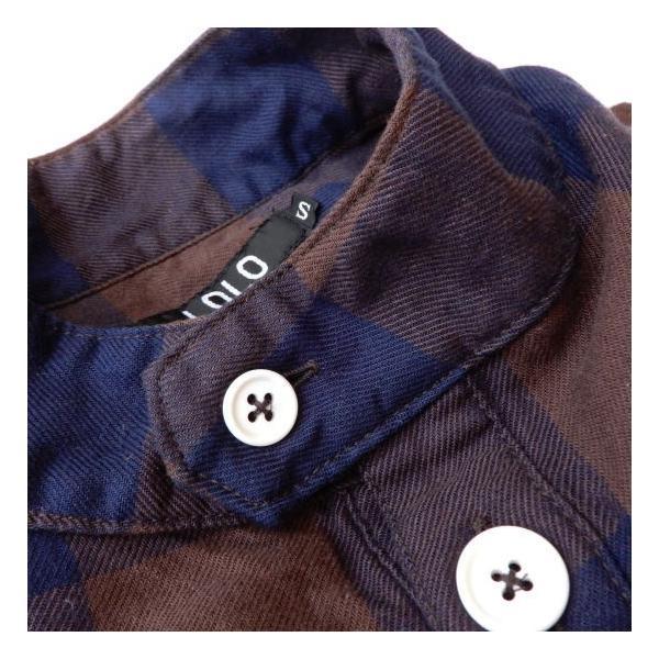 LOLO(ロロ) ブロックチェックアノラックシャツブルゾン ブラウン|abracadabra|12