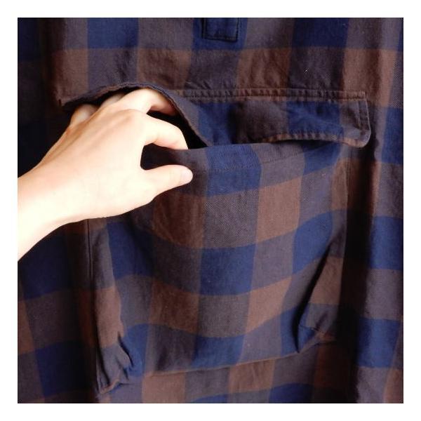 LOLO(ロロ) ブロックチェックアノラックシャツブルゾン ブラウン|abracadabra|09