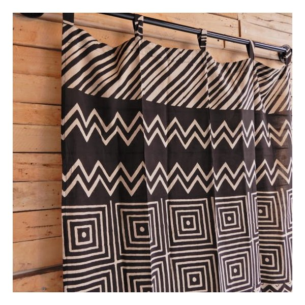 ダブプリントカーテン 105×170cm ブラック