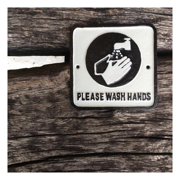 アイアンサインプレート WASH HANDS