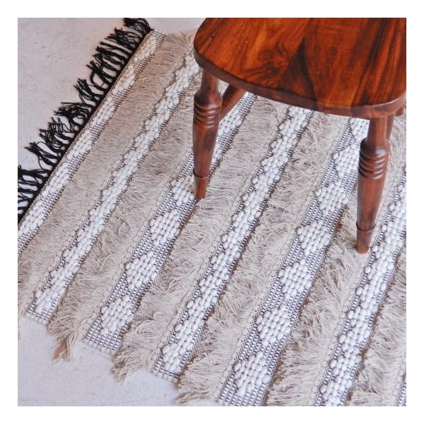 TOPANGA HOMEFURNISING 手織りのコットンフロアマット ベレチド 75×250cm