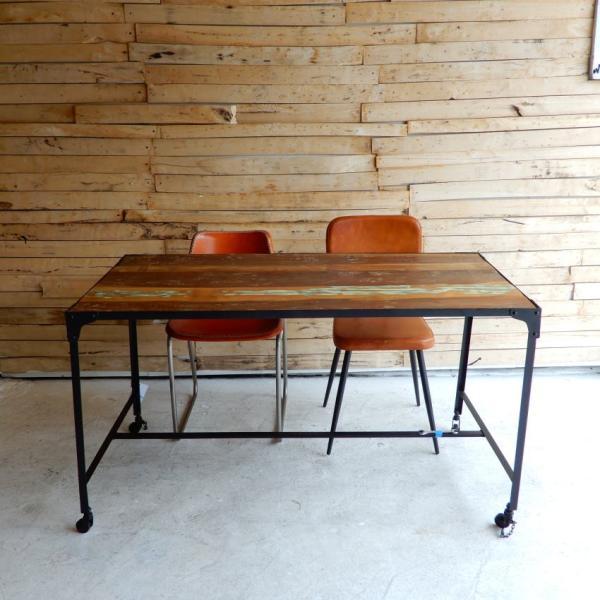 TOPANGA リサイクルウッド&アイアン ダイニングテーブル 135x70cm【送料無料】|abracadabra