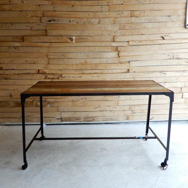 TOPANGA リサイクルウッド&アイアン ダイニングテーブル 135x70cm【送料無料】|abracadabra|02