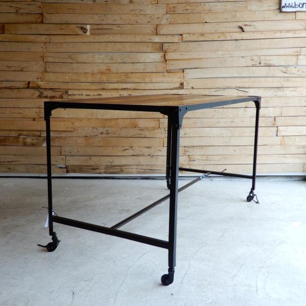 TOPANGA リサイクルウッド&アイアン ダイニングテーブル 135x70cm【送料無料】|abracadabra|03