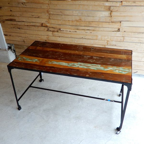 TOPANGA リサイクルウッド&アイアン ダイニングテーブル 135x70cm【送料無料】|abracadabra|04