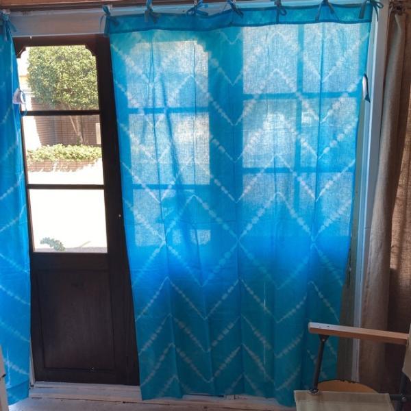 TOPANGA Shibori Curtain シボリカーテン W110xH180cm 青 abracadabra