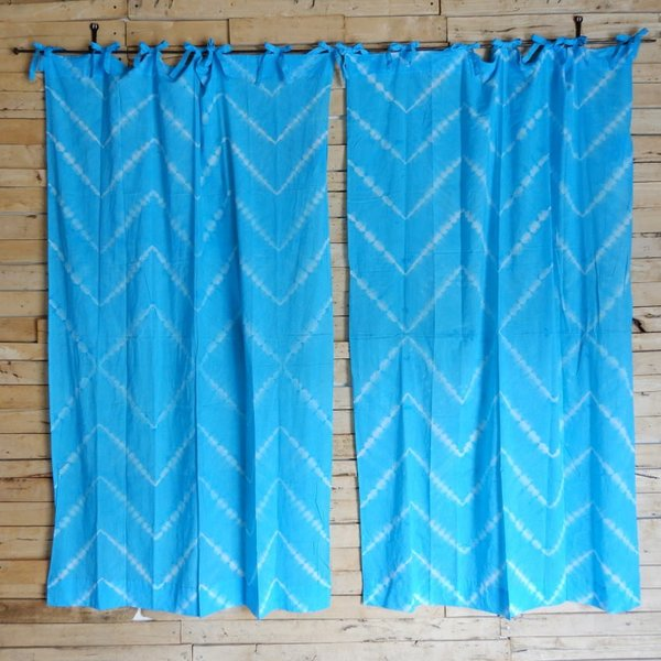 TOPANGA Shibori Curtain シボリカーテン W110xH180cm 青 abracadabra 02