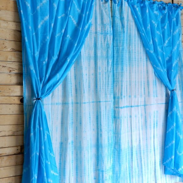 TOPANGA Shibori Curtain シボリカーテン W110xH180cm 青 abracadabra 08