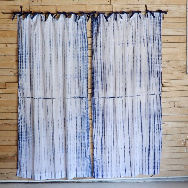 TOPANGA Shibori Curtain シボリカーテン W110xH200cm 白x紺|abracadabra|02