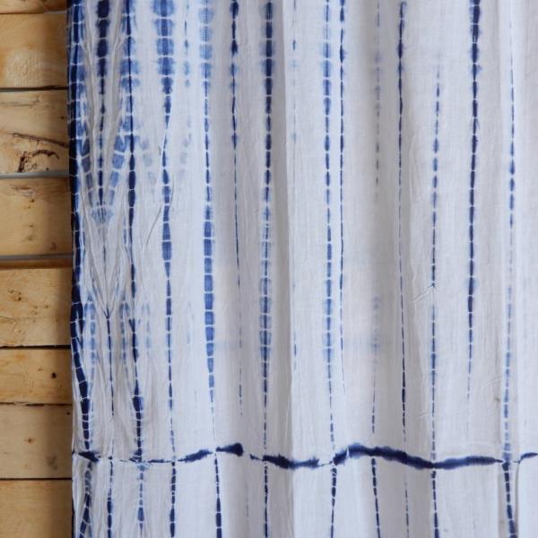 TOPANGA Shibori Curtain シボリカーテン W110xH200cm 白x紺|abracadabra|05