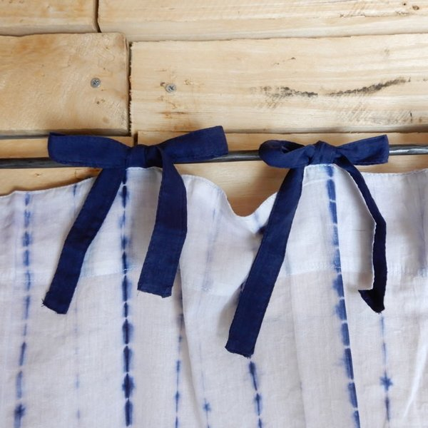 TOPANGA Shibori Curtain シボリカーテン W110xH200cm 白x紺|abracadabra|06
