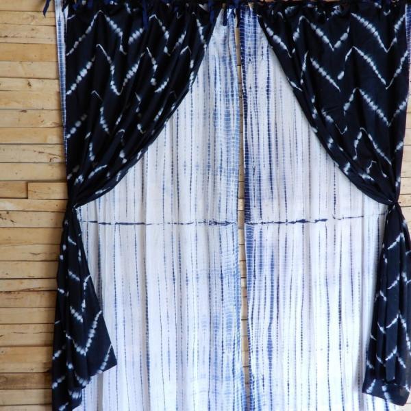 TOPANGA Shibori Curtain シボリカーテン W110xH200cm 白x紺|abracadabra|08