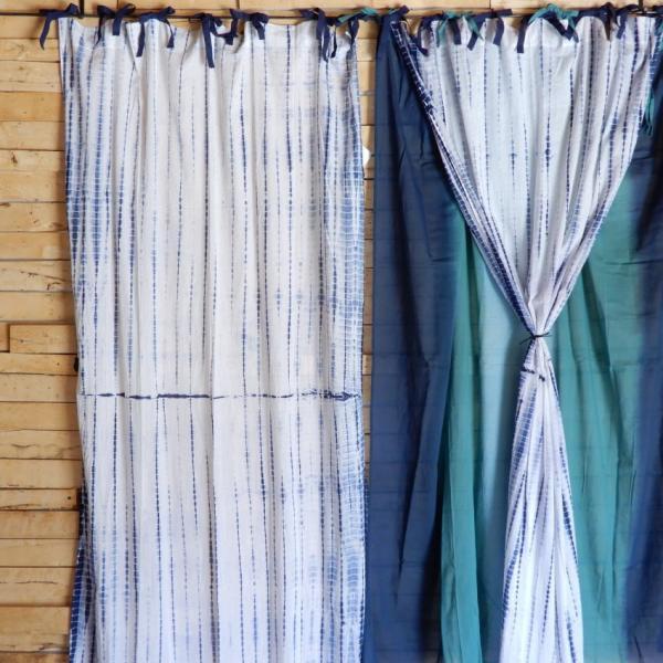 TOPANGA Shibori Curtain シボリカーテン W110xH200cm 白x紺|abracadabra|09