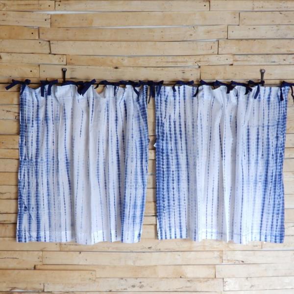 TOPANGA Shibori Curtain シボリカーテン W110xH90cm 白x紺 abracadabra