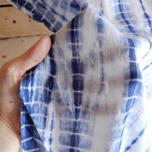 TOPANGA Shibori Curtain シボリカーテン W110xH90cm 白x紺 abracadabra 02