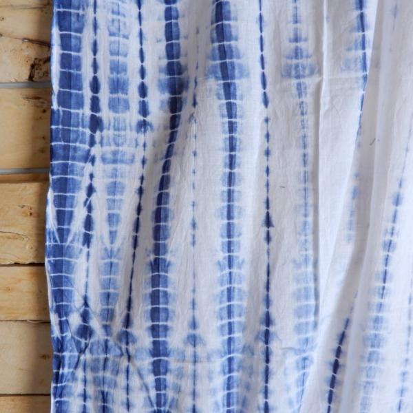 TOPANGA Shibori Curtain シボリカーテン W110xH90cm 白x紺 abracadabra 03