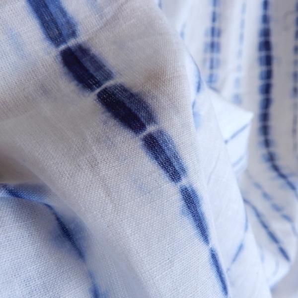 TOPANGA Shibori Curtain シボリカーテン W110xH90cm 白x紺 abracadabra 04