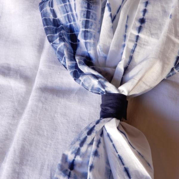 TOPANGA Shibori Curtain シボリカーテン W110xH90cm 白x紺 abracadabra 06