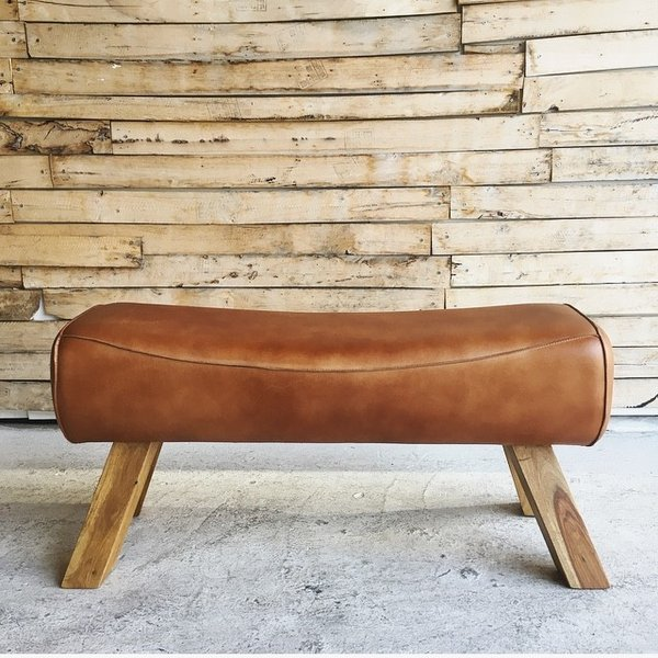 LEATEHR WOODEN BENCH|abracadabra|02