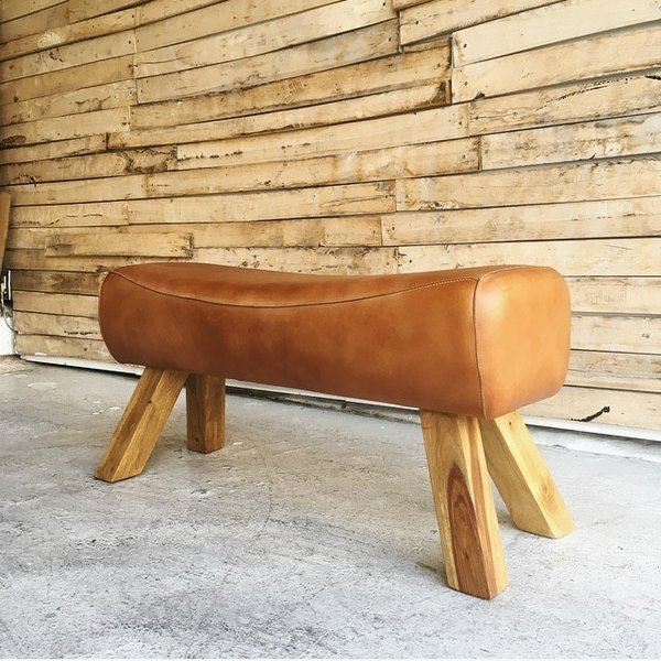 LEATEHR WOODEN BENCH|abracadabra|03