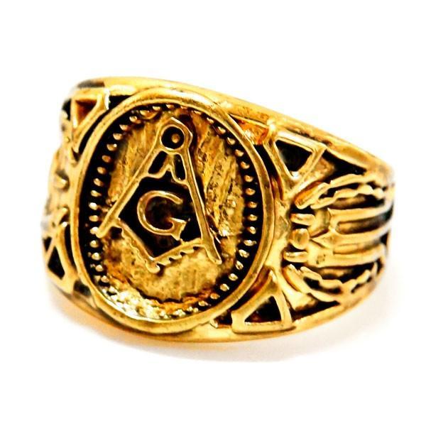 フリーメイソン秘密結社コンパスゴールド金ミニプチメンズリング指輪