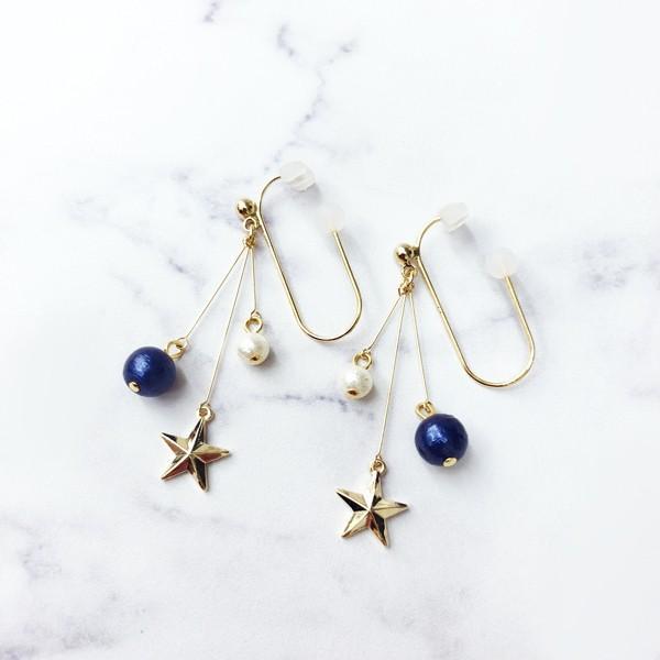痛くないイヤリング 揺れ2連パール&スター ブルー  ピナチョコ|accessoryjapan|02