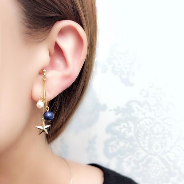 痛くないイヤリング 揺れ2連パール&スター ブルー  ピナチョコ|accessoryjapan|03