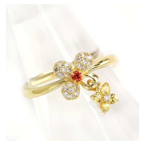 指輪 18金 レディース K18 イエローサファイア ダイヤモンド フラワー&フラワーチャームリング