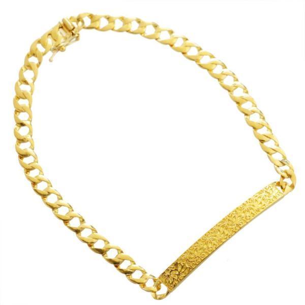 喜平 ブレスレット k24 メンズ ゴールド 純金 11g 20cm 4mm幅 プレート レリーフ柄 日本製 長さ指定可能 男性