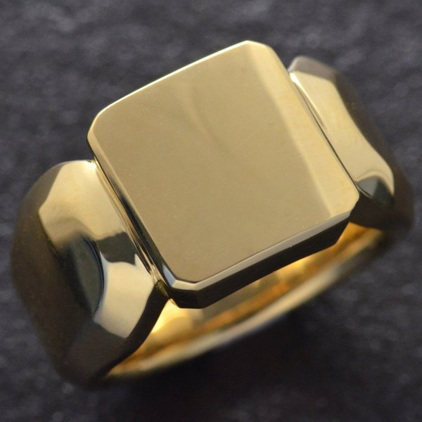 印台リング K18 指輪 18金 メンズリング ゴールド 地金 裏抜き無し 男性 日本製 刻印入り 幅広 ごつい 人気 おすすめ 太め シンプル