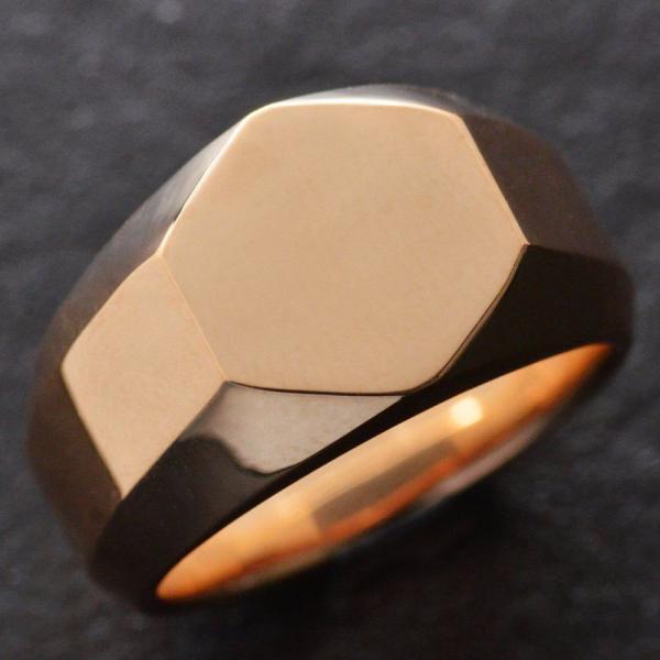 印台リング K18 メンズ 指輪 18金 ピンクゴールド 幅広 地金 男性 日本製 刻印入り ごつい 裏抜き無し