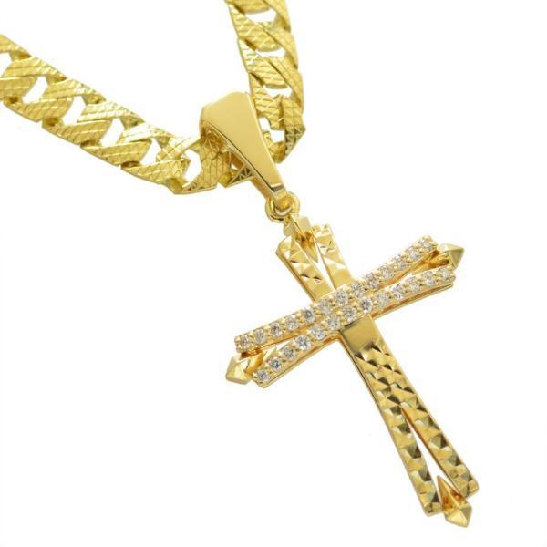 喜平 ネックレス 18金 喜平ネックレス K18 ゴールド メンズ ダイヤモンドクロス ペンダントトップ セット リバーシブル 模様 30g 50cm 5mm幅 日本製 鑑別書付き