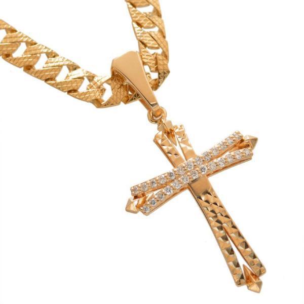 喜平 ネックレス 18金 喜平ネックレス K18 ピンクゴールド メンズ ダイヤモンドクロス ペンダントトップ セット リバーシブル 模様 30g 50cm 5mm幅 鑑別書付き