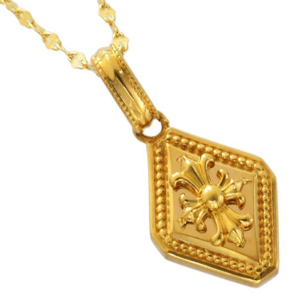 メンズネックレス k24 純金 メンズ ネックレス ゴールド 十字架 クロス プレーンペタルチェーン 日本製 刻印入り