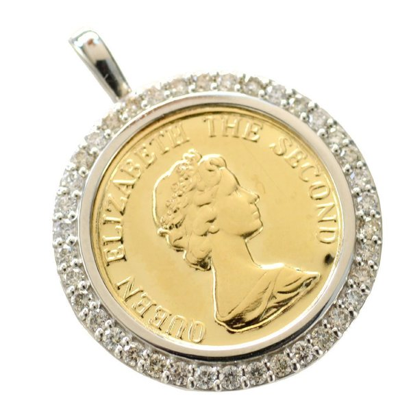 ペンダントトップ コイン 18金 プラチナ ダイヤモンド枠付き K18 Pt950 エリザベス 15mm 男女兼用  ヘッド 刻印入り