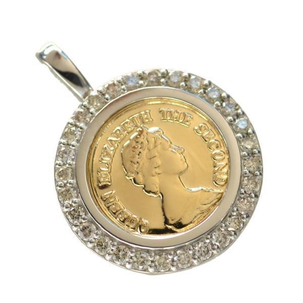 ペンダントトップ コイン 18金 プラチナ ダイヤモンド枠付き K18 Pt950 エリザベス 10mm 男女兼用 ヘッド 刻印入り