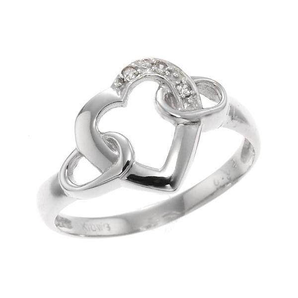 ホワイトゴールドダイヤモンドエッセンスハートリング 指輪 4月誕生石|accessorymart
