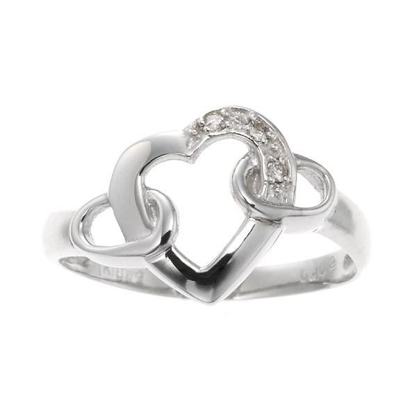 ホワイトゴールドダイヤモンドエッセンスハートリング 指輪 4月誕生石|accessorymart|02