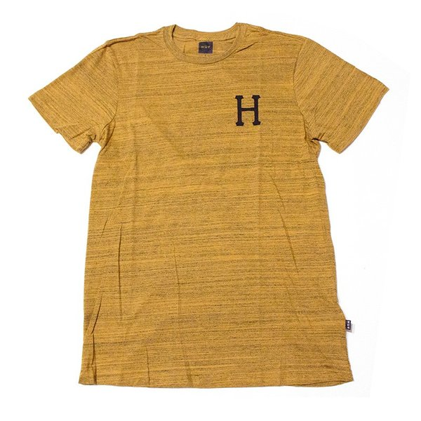 HUF:CLASSIC H STREAKY WASH TEE Mustard