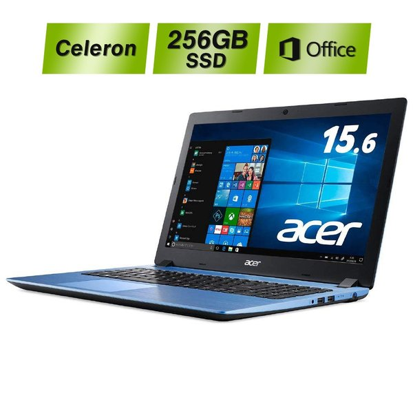 ACER A315-32-N14U/BF ノートパソコン Aspire 3 ストーンブルー [15.6型 /intel Celeron /SSD:256GB /メモリ:4GB /2018年5月モデル]の画像