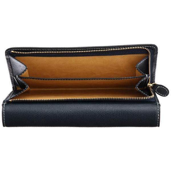 キタムラ長財布キズが目立ちにくい素材PH0450ダークブルー/アイボリーステッチ紺10911
