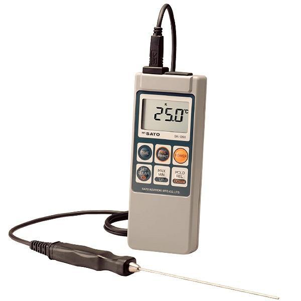 [送料無料] skSATO メモリ機能付防水型デジタル温度計 SK-1260(生コン養生用センサSK-S105K付)セット