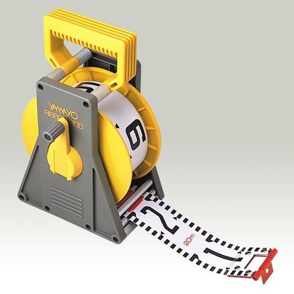 YAMAYO ヤマヨ測定機 リボンロッド 60mm幅 20m ケース付 R6B20M E2タイプ(表タテ数字20cm毎赤白 裏ヨコ数字1m毎赤白) 工事写真 リボンテープ