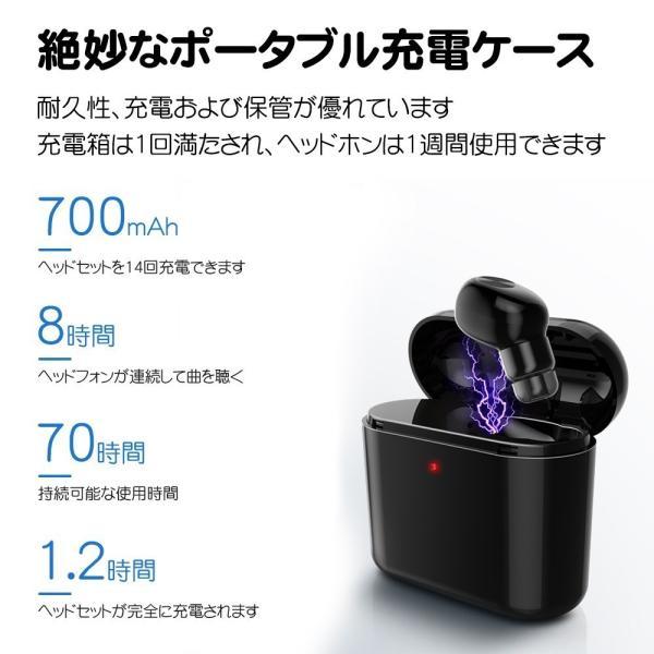 ワイヤレスイヤホン Bluetooth 片耳仕様イヤホン 充電BOX付 充電ケース付き 音楽 通勤 通学 achostore 02