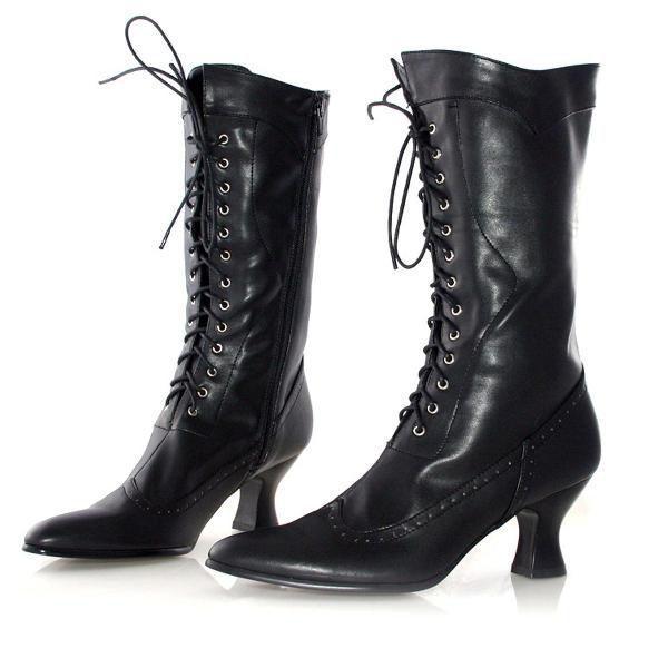 レディース 靴 大きいサイズ もある ブーツ 黒 編み上げ コスプレ コロニアル ブーツ アメリア 大人用 ハロウィン