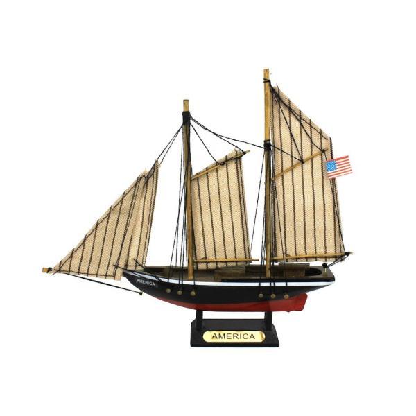 Hampton Nautical ヨット 木製 模型 7インチ 船 インテリア 置き物