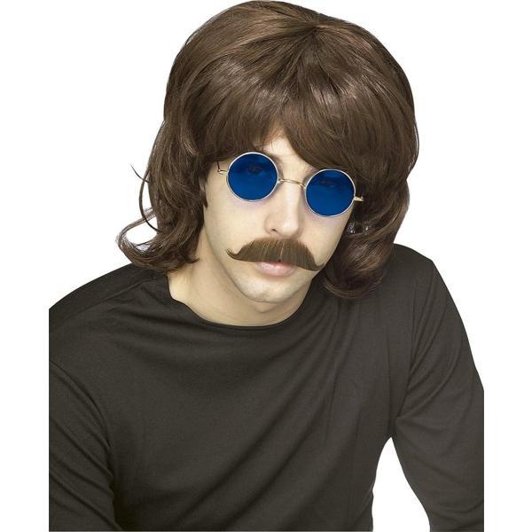 70年代 70's ウィッグ かつら シャグ ヘアースタイル 暗い茶色 コスプレ 仮装