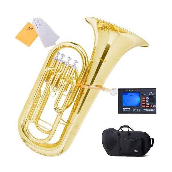 ユーフォニアム 初心者セット Bbユーフォニアム テナーチューバ マウスピース キャリーケース クリーニングキット チューナー 吹奏楽 学生 楽器 Mendini Cecilio