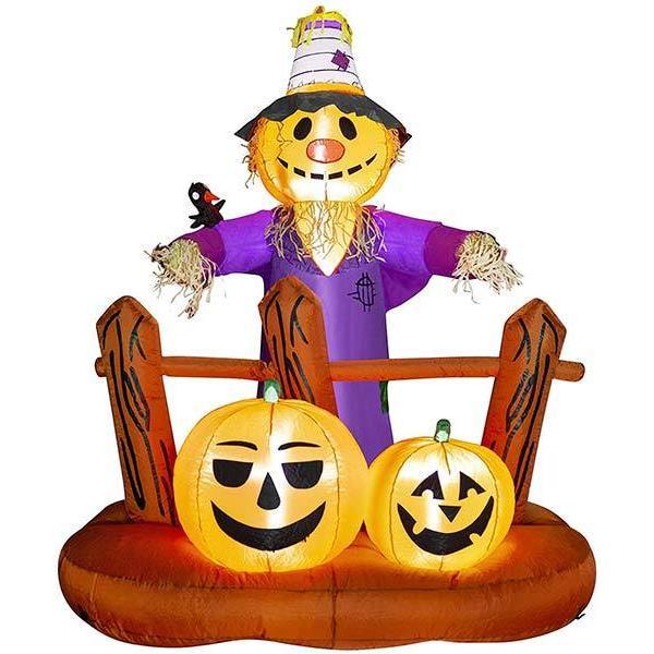 ハロウィン 飾り 屋外 カボチャ 膨らむ かかし カボチャ エアーブローン 膨らませる  屋内 LED デコレーション 怖くない 182cm