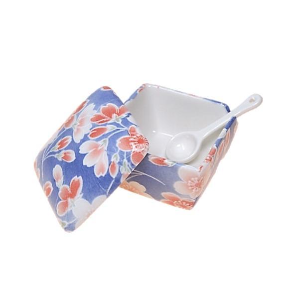 染桜 薬味入 日本製 陶器 スプーン付き 一味 塩 山椒 七味 うどん そば 豆板醤 辛子 業務用食器 ACSWEBSHOPオリジナル